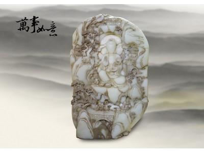 清 新疆白玉鏤雕 童子觀音