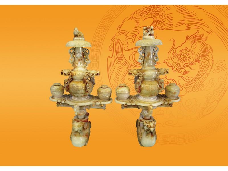 和闐白玉雕龍鳳組合件