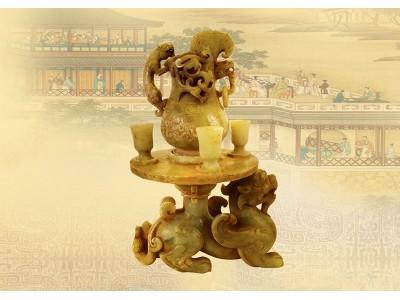 黃玉 雕貔貅 背酒壺和酒杯 組合擺件