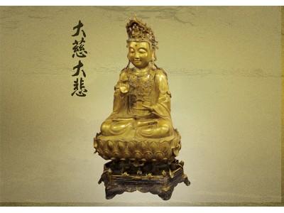 老觀音銅佛像 精工及神物底盤